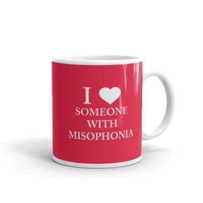"""I ❤ Someone With Misophonia"" Mug – Red"