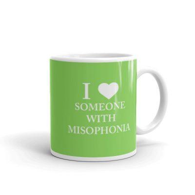 """I ❤ Someone With Misophonia"" Mug – Lime"