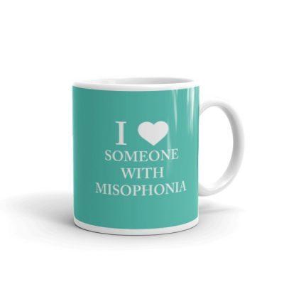 """I ❤ Someone With Misophonia"" Mug – Teal"