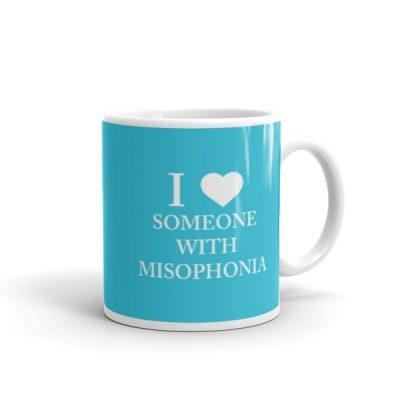 """""""I ❤ Someone With Misophonia"""" Mug – Blue"""
