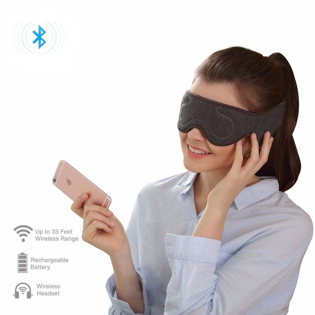 Wireless Bluetooth Sleep Headphones Eye Mask Built-In Speaker With Stereo Sleeping Earphone For Bedtime & Travel